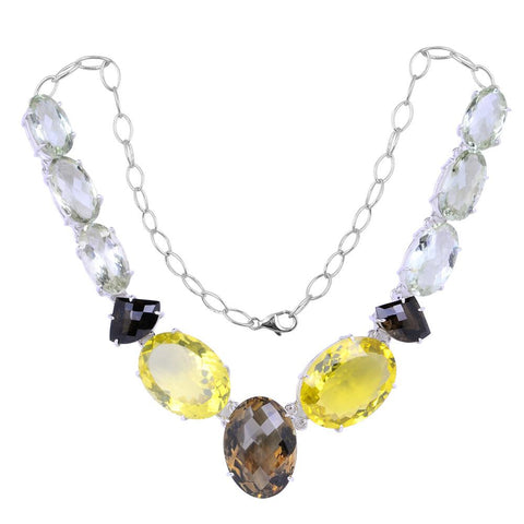 Jeweltique Designs 925 Sterling Silver Smoky Quartz, Lemon Quartz & Green Amethyst Necklace