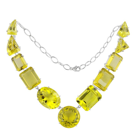 Jeweltique Designs 925 Sterling Silver 399.20 Carat Lemon Quartz Excellent Cut Necklace