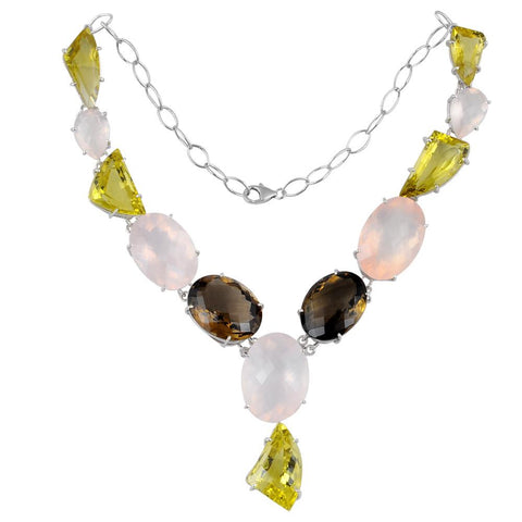 Jeweltique Designs 925 Sterling Silver 427.50 carat Multi Gemstone Chain Necklace