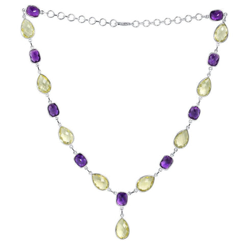Orchid Jewelry 925 Sterling Silver 129.60 carat Lemon Quartz & Amethyst Necklace