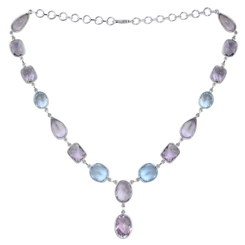 Jeweltique Designs 925 Sterling Silver 91.25 carat Blue Topaz & Amethyst Bezel Necklace