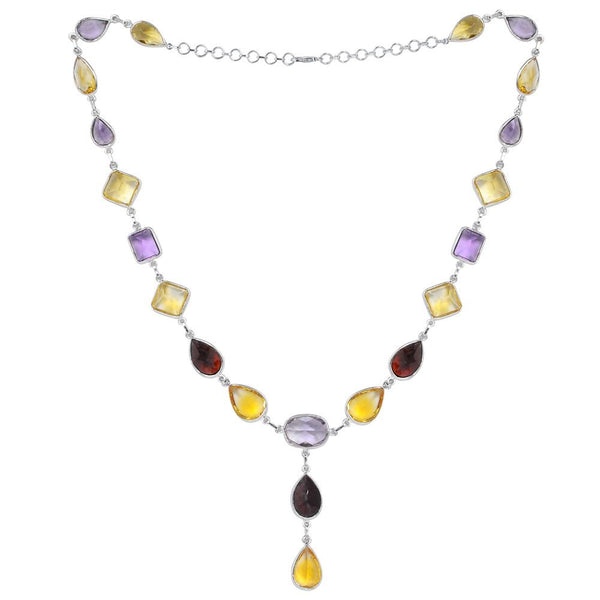 Orchid Jewelry 925 Sterling Silver Multi Gemstone Rosecut Necklace