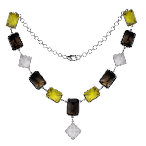 Jeweltique Designs 925 Sterling Silver 197.70 Carat Multi Gemstone Rose cut Necklace