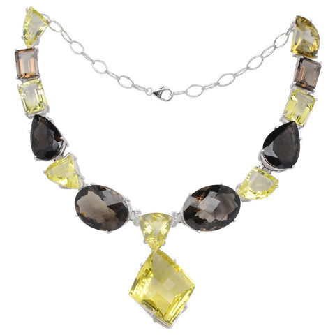 Jeweltique Designs 925 Sterling Silver Lemon & Smoky Quartz Necklace