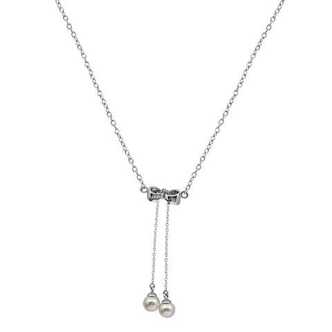 Orchid Jewelry 925 Sterling Silver 2.40 Carat Pearl Chain Necklace