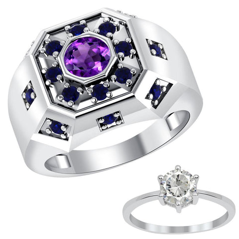 Orchid Jewelry Sterling Silver Amethyst, Sapphire & Topaz Rings Set for Father & Daughter
