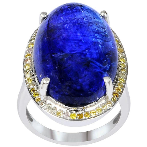 Jeweltique Designs One of A Kind 31.07 Carat Genuine Diamond & Tanzanite Sterling Silver Ring