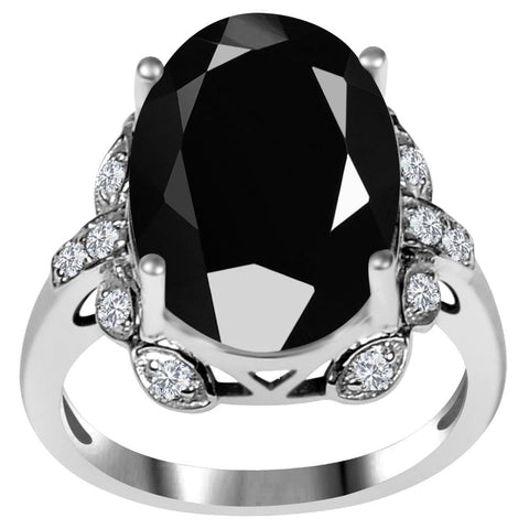 Orchid Jewelry 925 Sterling Silver 7.35 Carat Black Spinel & CZ Prong Set Wedding Ring