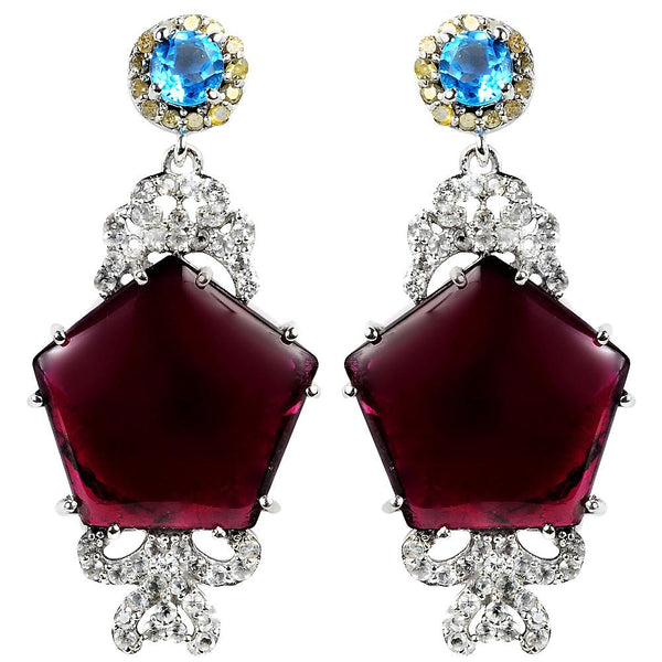 Jeweltique Designs One of A Kind 925 Silver 23.50 Carat Tourmaline, Topaz and Diamond Earrings