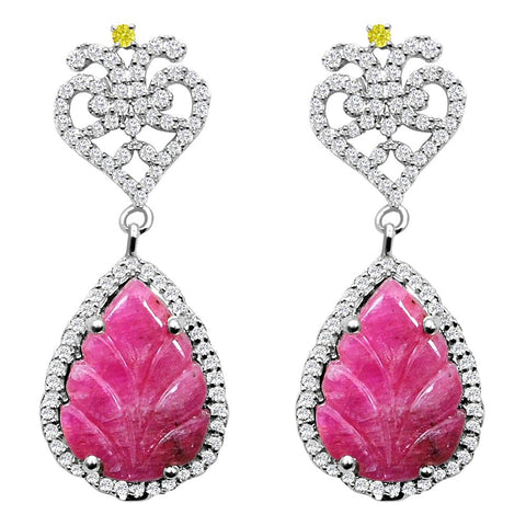 Jeweltique Designs 12.70 Carat Weight Genuine Ruby, Diamond and White Topaz Earring in 925 Sterling Silver