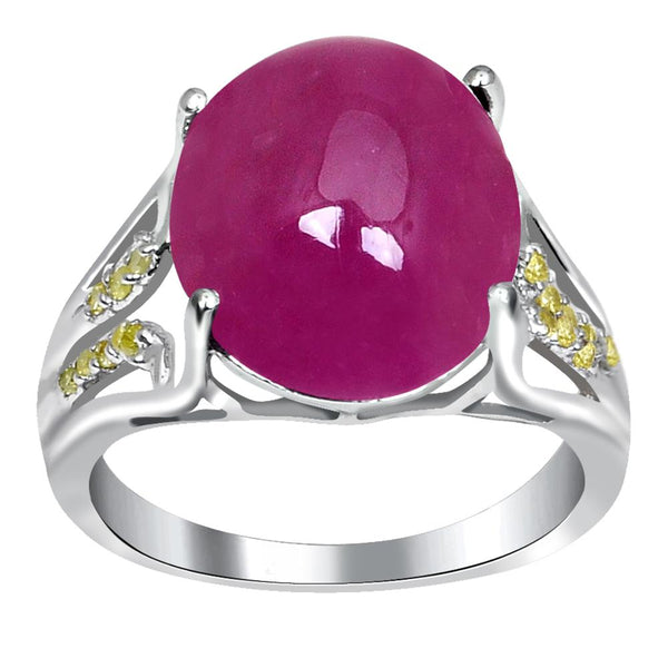 Jeweltique Designs One of A Kind 10.72 Carat Genuine Ruby & Diamond 925 Sterling Silver Ring