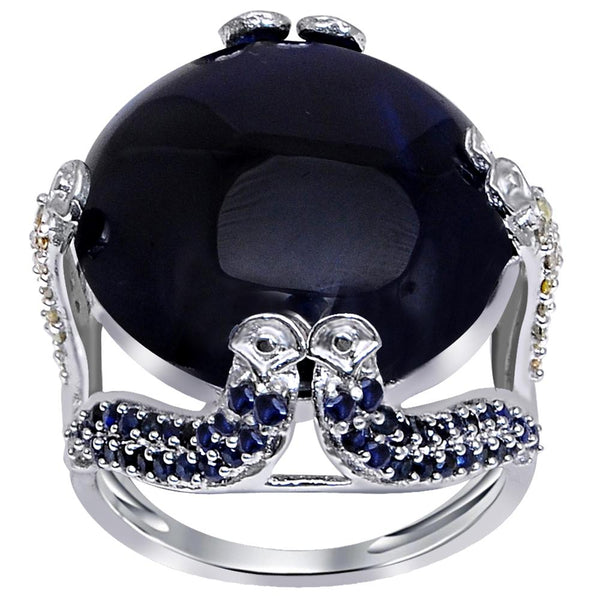 Jeweltique Designs One of A Kind 24.14 Carat Genuine Sapphire & Diamond 925 Sterling Silver Ring
