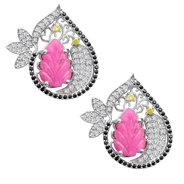 Jeweltique Designs One of a Kind 51.61 Carat Ruby, Sapphire, Diamond & White Topaz Earring in 925 Sterling Silver
