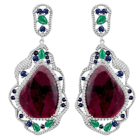 Jeweltique Designs One of a Kind Sterling Silver 40.97 Carat Genuine Tourmaline, Emerald, Sapphire & White Topaz Earring