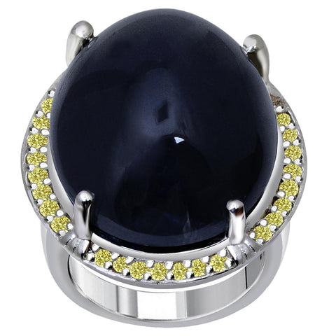 Jeweltique Designs One of A Kind 37.15 Carat Genuine Sapphire & Diamond 925 Sterling Silver Ring