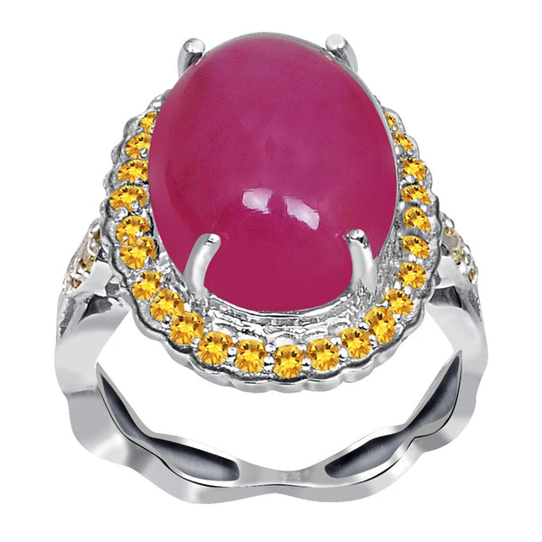 Jeweltique Designs One of A Kind 15.45 Carat Genuine Ruby, Diamond & Citrine 925 Sterling Silver Ring