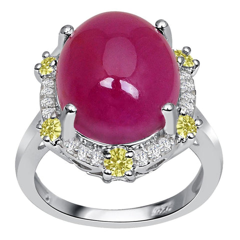Jeweltique Designs One of A Kind 15.56 Carat Genuine Ruby, Diamond & White Topaz 925 Sterling Silver Ring
