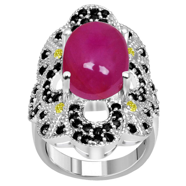Jeweltique Designs One of A Kind 13.15 Carat Genuine Ruby, Diamond & Sapphire 925 Sterling Silver Ring