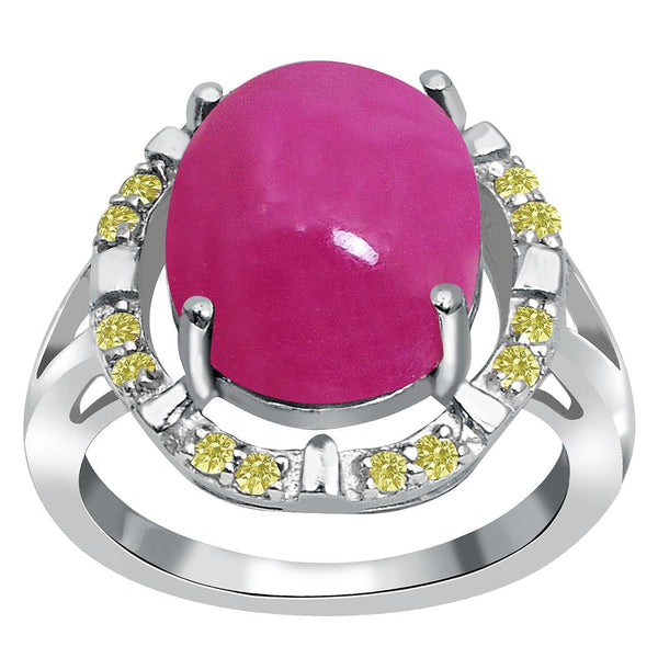Jeweltique Designs One of A Kind 10.80 Carat Genuine Ruby & Diamond 925 Sterling Silver Ring