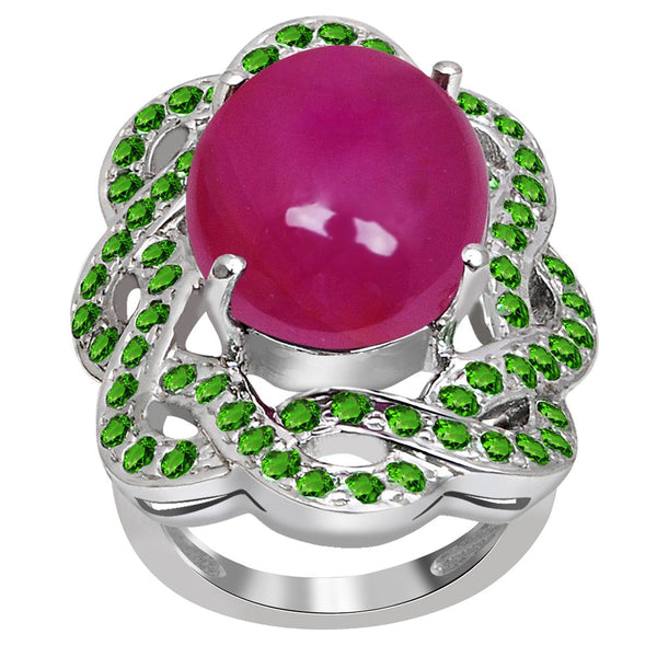 Jeweltique Designs One of A Kind 18.00 Carat Genuine Ruby & Tsavorite 925 Sterling Silver Ring