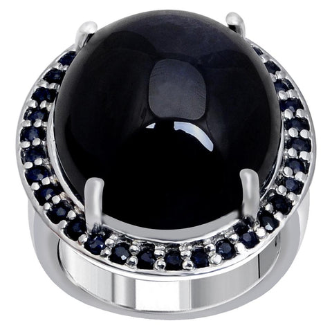 Jeweltique Designs One of A Kind 37.26 Carat Genuine Sapphire & Diamond 925 Sterling Silver Ring