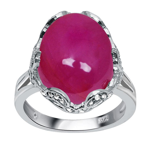 Jeweltique Designs One of A Kind 13.80 Carat Genuine Ruby & White Topaz 925 Sterling Silver Ring