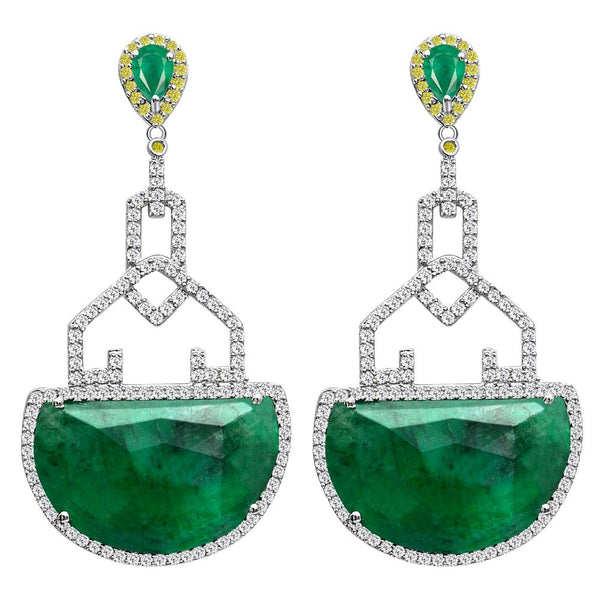 Jeweltique Designs One of a Kind 35.30 Carat Emerald, Diamond & White Topaz Earring in 925 Sterling Silver