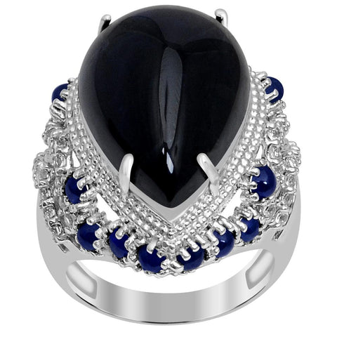 Jeweltique Designs One of A Kind 27.22 Carat Genuine Sapphire & White Topaz 925 Sterling Silver Ring