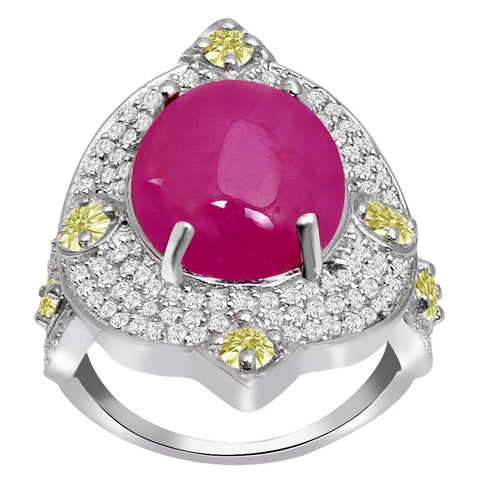 Jeweltique Designs One of A Kind 13.92 Carat Genuine Ruby, Diamond & White Topaz 925 Sterling Silver Ring
