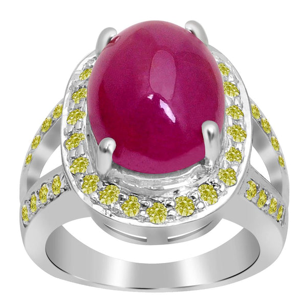 Jeweltique Designs One of A Kind 12.98 Carat Genuine Ruby & Diamond 925 Sterling Silver Ring
