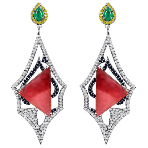 Jeweltique Designs One of a Kind Sterling Silver 26.75 Carat Genuine Tourmaline, Emerald, Sapphire & Diamond Earrings