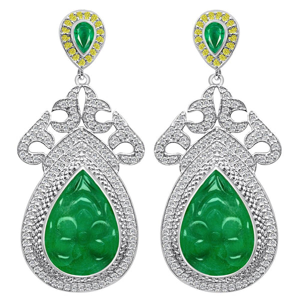 Jeweltique Designs One of a Kind 39.79 Carat Emerald, Diamond & White Topaz Earring in 925 Sterling Silver