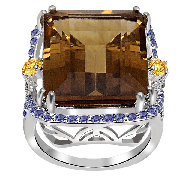 Jeweltique Designs One of A Kind 22.16 Carat Genuine Smoky Quartz, Citrine & Iolite 925 Sterling Silver Ring
