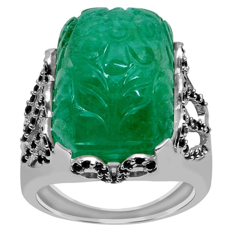 Jeweltique Designs One of A Kind 26.25 Carat Genuine Emerald & Black Spinel 925 Sterling Silver Ring