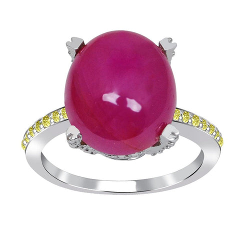Jeweltique Designs One of A Kind 11.10 Carat Genuine Ruby & Diamond 925 Sterling Silver Ring