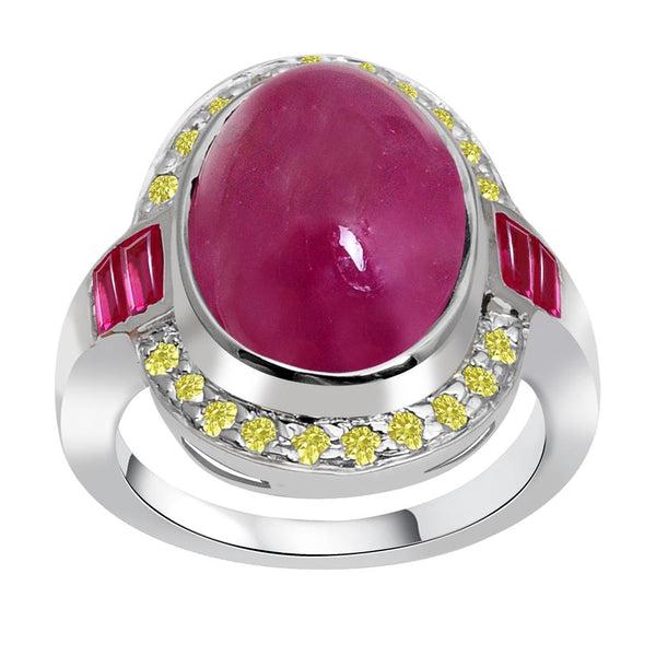 Jeweltique Designs One of A Kind 15.08 Carat Genuine Ruby & Diamond 925 Sterling Silver Ring