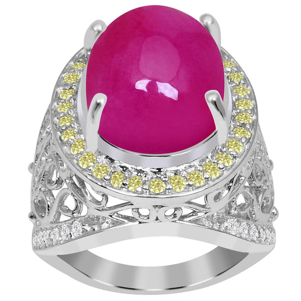 Jeweltique Designs One of A Kind 13.48 Carat Genuine Ruby, Diamond & White Topaz 925 Sterling Silver Ring