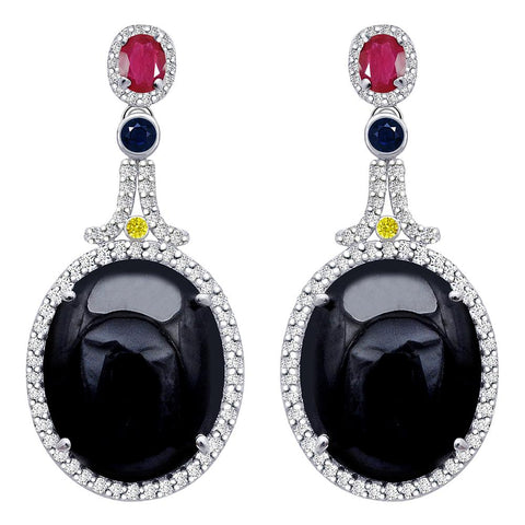Jeweltique Designs One of a Kind 39.23 Carat Sapphire, Ruby, Diamond & White Topaz Earrings in 925 Sterling Silver