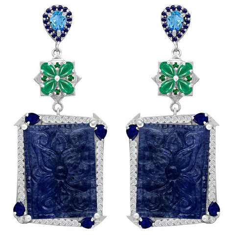 Jeweltique Designs One of a Kind 61.51 Carat Tanzanite, Blue Topaz, Emerald, Sapphire & White Topaz Earrings in 925 Sterling Silver