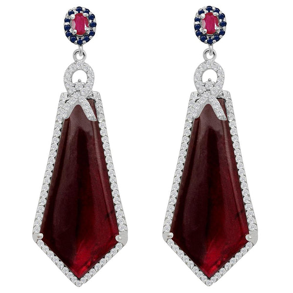Jeweltique Designs One of a Kind 51.32 Carat Tourmaline, Ruby, Sapphire & White Topaz Earring in 925 Sterling Silver