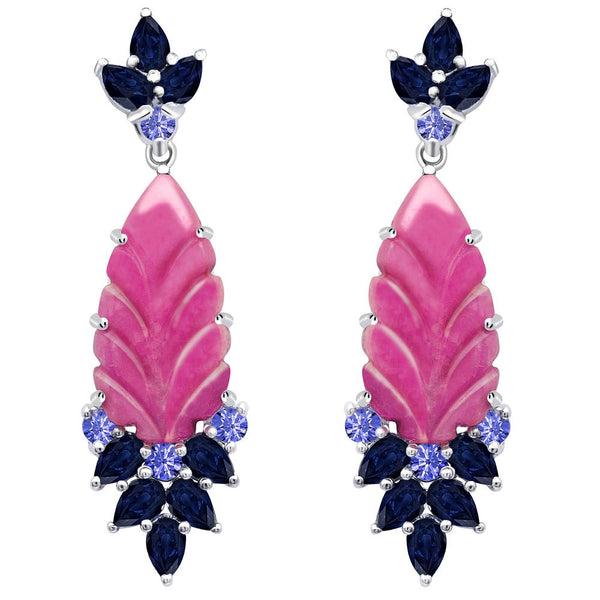 Jeweltique Designs One of a Kind 25.26 Carat Ruby, Sapphire, Tanzanite Earrings in 925 Sterling Silver