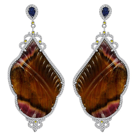 Jeweltique Designs One of a Kind 101.35 Carat Tourmaline, Sapphire, Diamond & White Topaz Earring in 925 Sterling Silver