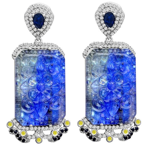 Jeweltique Designs One of a Kind 59.45 Carat Tanzanite, Diamond, Sapphire & White Topaz Earring in 925 Sterling Silver