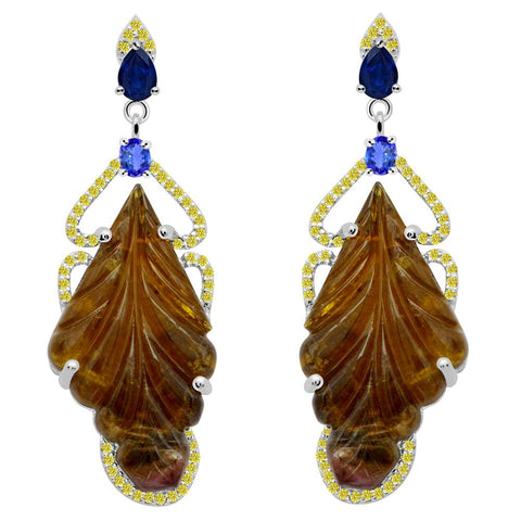 Jeweltique Designs One of a Kind 42.56 Carat Tourmaline, Sapphire, Tanzanite & Diamond Earring in 925 Sterling Silver