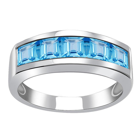 Jeweltique Designs One of A Kind 2.25 Carat Genuine Blue Topaz 925 Sterling Silver Ring