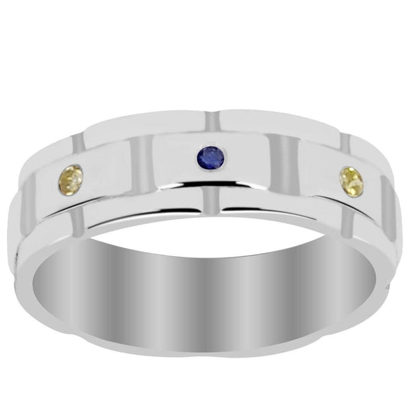 0.03 Ct 1MM Round Sapphire and Diamond 925 Sterling Silver Women's Ring (Available in size 7)