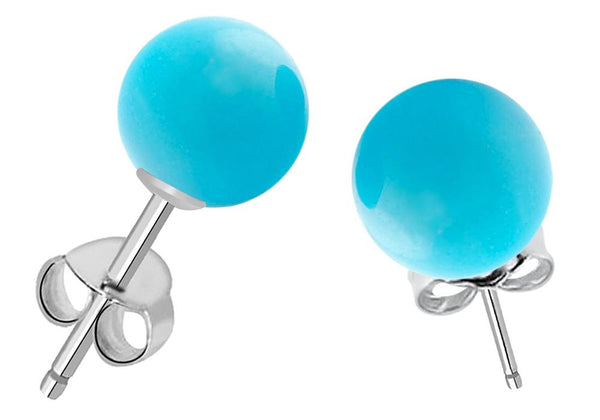 Orchid Jewelry 7.00 Carat 8mm Turquoise Ball 925 Sterling Silver Stud Earrings