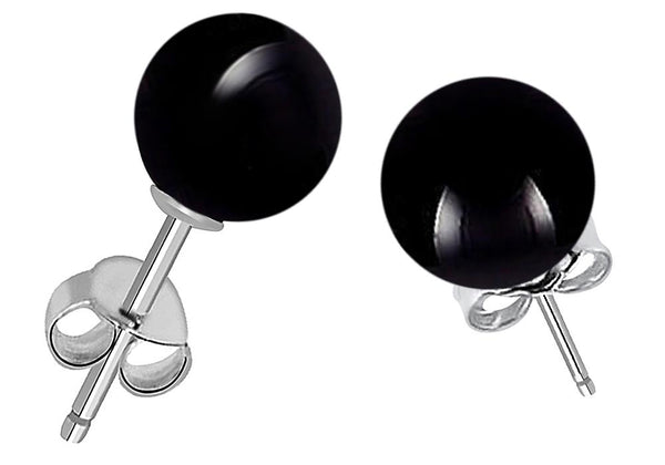 Orchid Jewelry 925 Sterling Silver Black Onyx Ball Gemstone Stud Earrings