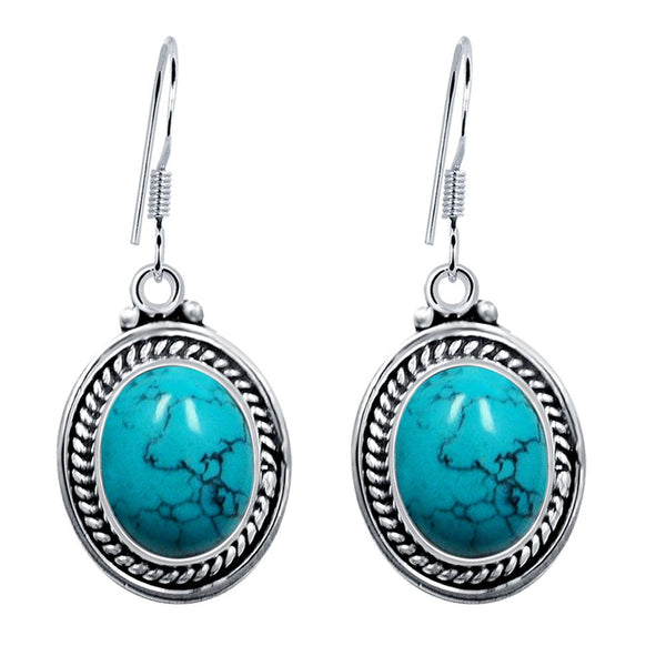 Orchid Jewelry Sterling Silver Enhanced Turquoise and Amethyst Oval Drop Earrings