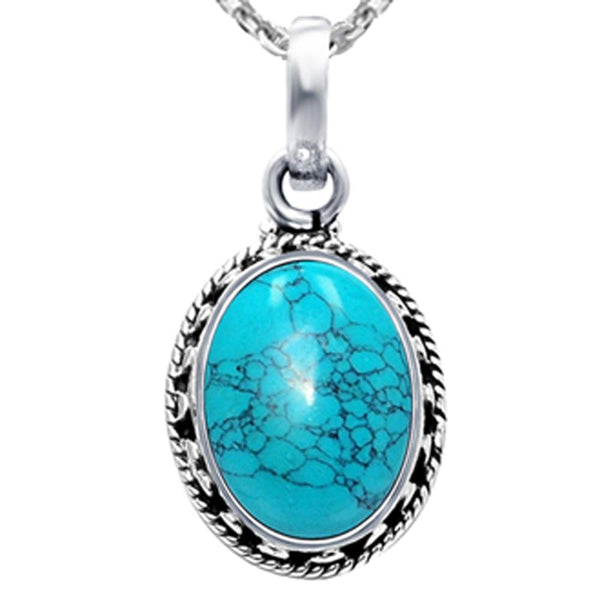 Orchid Jewelry 925 Sterling Silver 10 Carat Genuine Turquoise Oval Shape Pendant Necklace